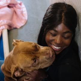 Volunteer in a kennel getting kissed by a pitbull