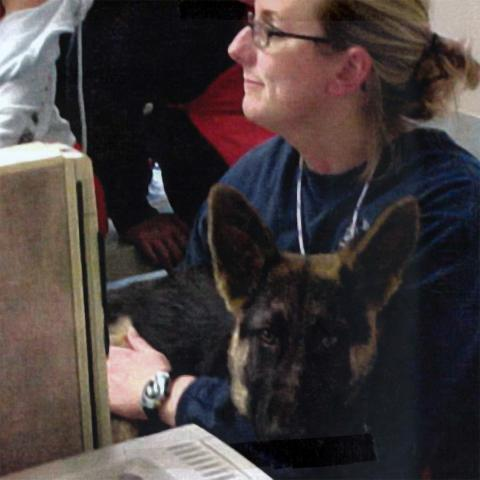 Jen H. works with a Shepherd at a desk